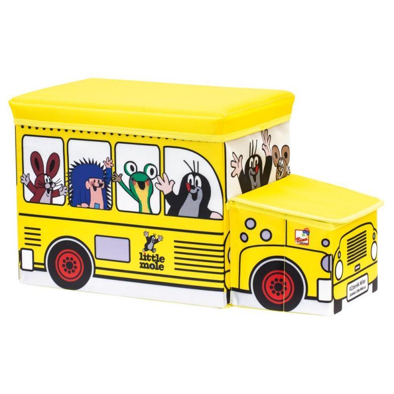 Bino Krteček krabice na hračky autobus 2v1