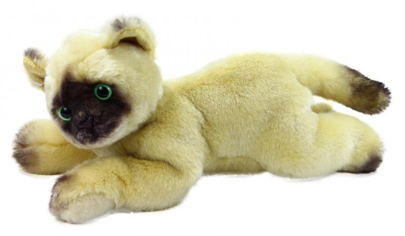 Rappa plyšová kočka ležící béžová, 30 cm