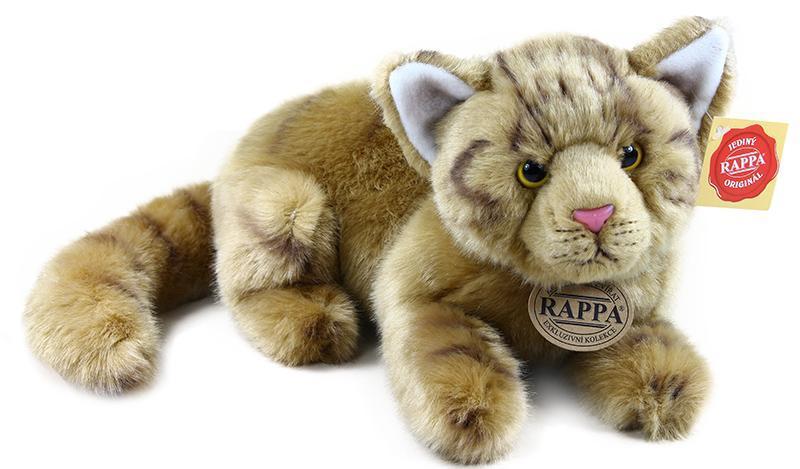 Rappa plyšová kočka hnědá, ležící, 26 cm