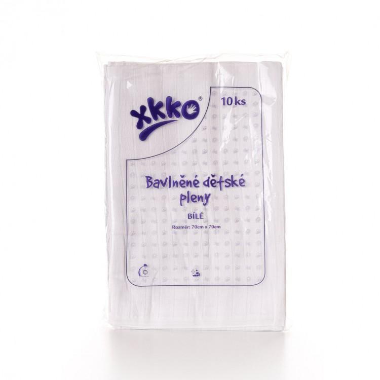 KIKKO Bavlněné pleny XKKO Classic 70x70 cm bílé, 10 ks