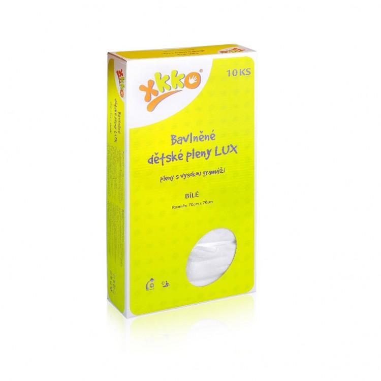 KIKKO Bavlněné dětské pleny XKKO LUX 70x70 cm bílé, 10 ks