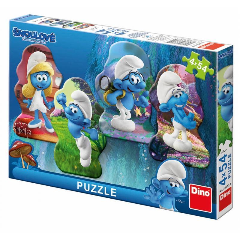 Dino puzzle 4x54 Šmoulové 3 Hrdinové