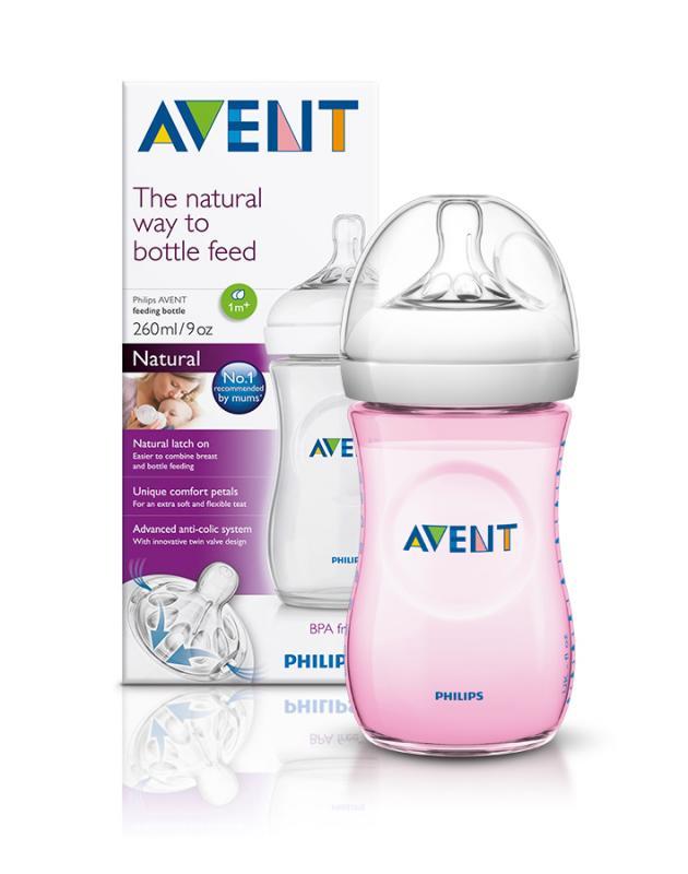 Avent Láhev Natural 260 ml + Natural 260 ml růžová