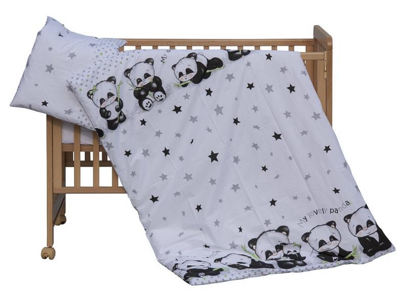 Scarlett povlečení do postýlky 2dílné - Panda bílá 135x100 cm