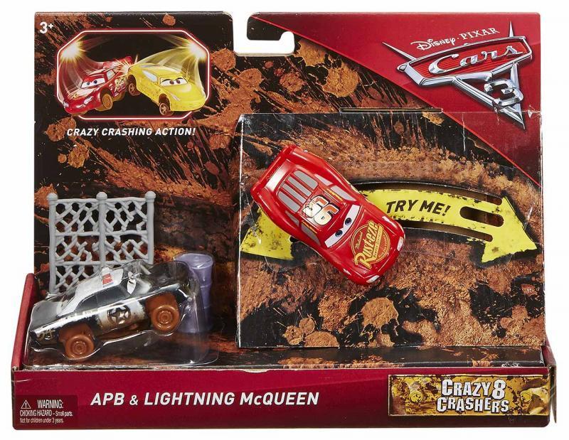Mattel Cars 3 Bláznivá Auta set 2ks - APB & McQueen