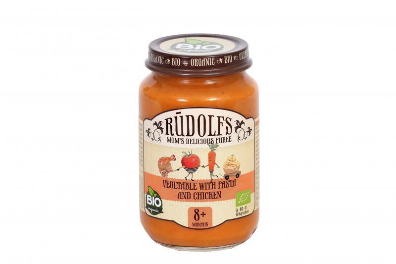 RUDOLFS Dětské masové pyré zelenina + těstoviny + kuřecí maso