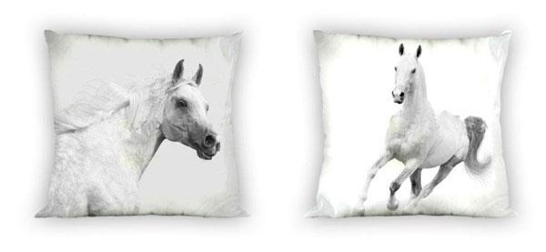 Faro povlak na polštářek Koně černobílé micro 40x40 cm