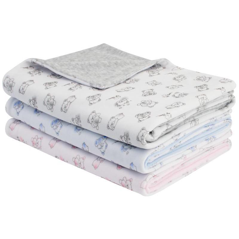 Esito Jarní dětská deka dvojitá plyš medvídek - medvídek modrá