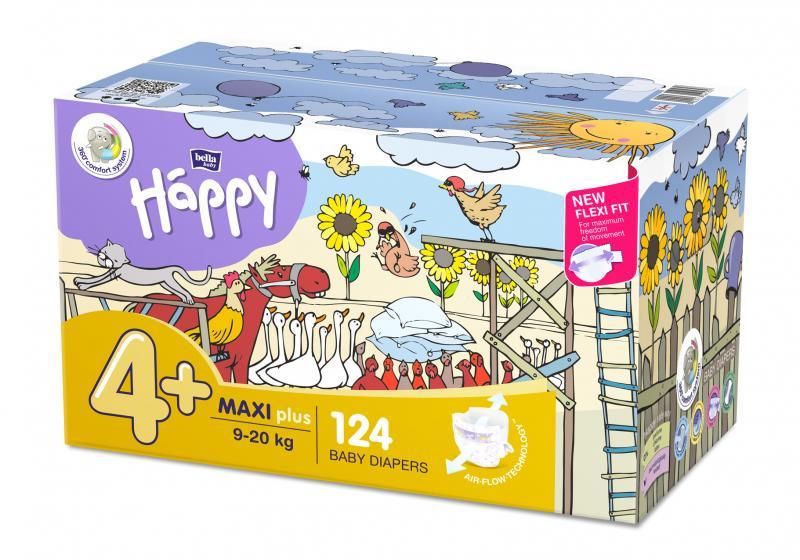 Bella Happy Maxi Plus (9-20 kg) Toy box 124 ks - jednorázové pleny