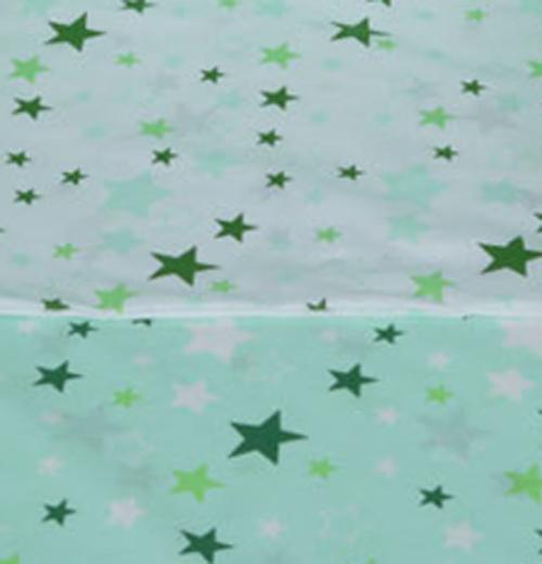 Tomi Povlečení do postýlky K2 tisk - Hvězdy bílá-zelená 135x100 cm
