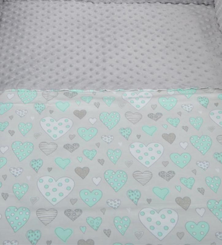 Tomi Povlečení do postýlky K2 - Minky srdce šedá-zelená 135x100 cm
