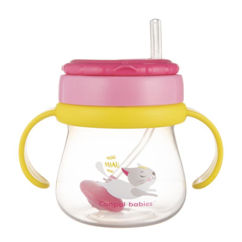Canpol babies Hrníček sportovní se slámkou a závažím růžová 250 ml