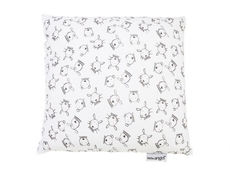 Little Angel Polštářek tisk - bílá šedá zvířátka