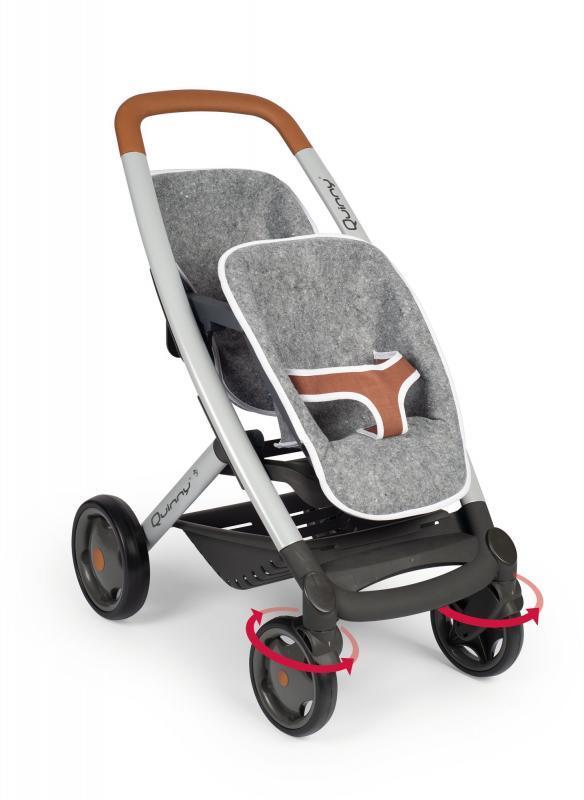 Smoby Sportovní kočárek pro panenky dvojčata Maxi-Cosi šedý