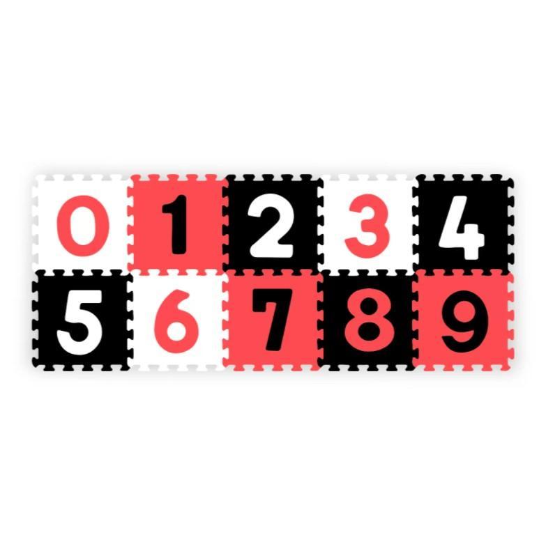 BabyOno Puzzle pěnové číslice černá/červená/bílá 10 ks, 6m+