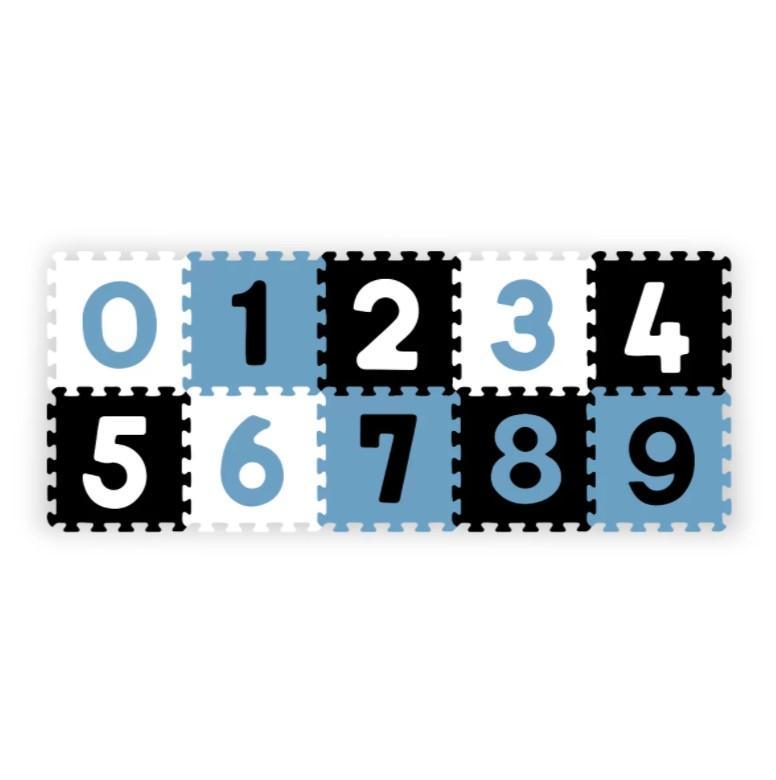 BabyOno Puzzle pěnové číslice černá/modrá/bílá 10 ks, 6m+