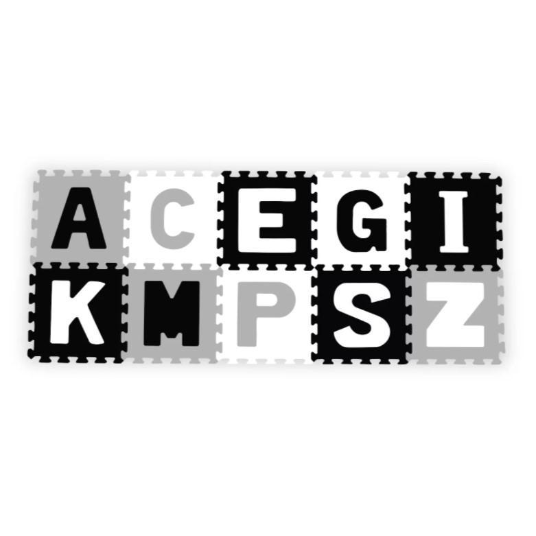 BabyOno Puzzle pěnové Abeceda černá/šedá/bílá 10 ks, 6m+