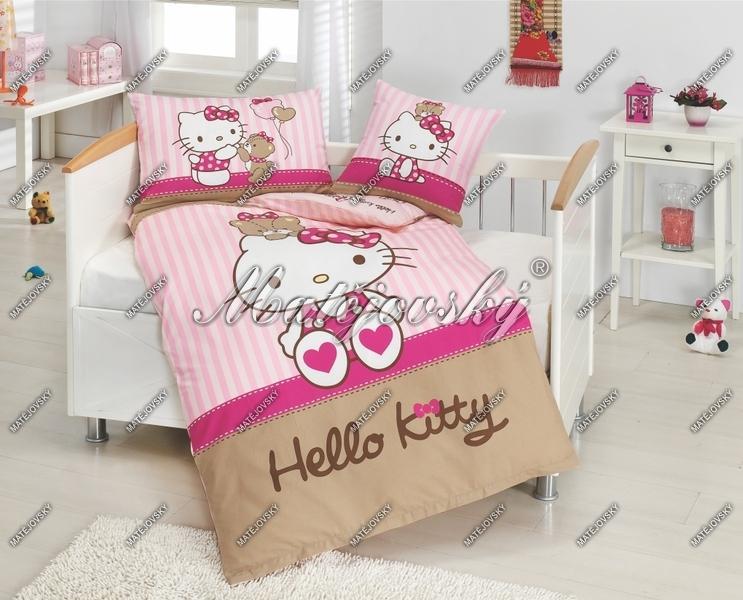 Bavlněné ložní povlečení do postýlky Matějovský Hello Kitty bear 130x90 cm