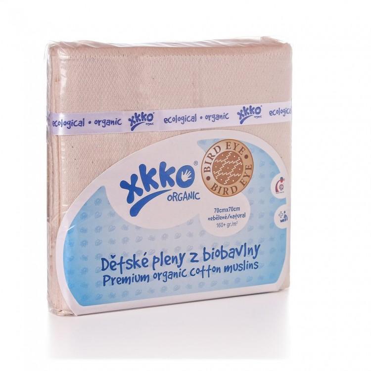 KIKKO Dětské pleny z biobavlny XKKO Organic 70x70cm Bird Eye - natural