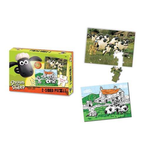 Shaun the Sheep - Ovečka Shaun - Oboustranné puzzle s pastelkami 50ks