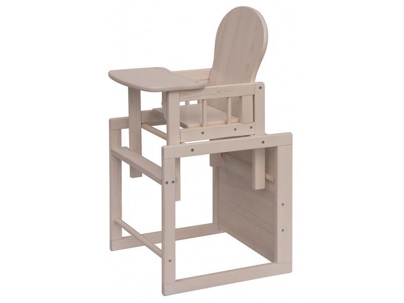 Jídelní židlička Scarlett Kombi, masiv borovice - bílá (bělená)