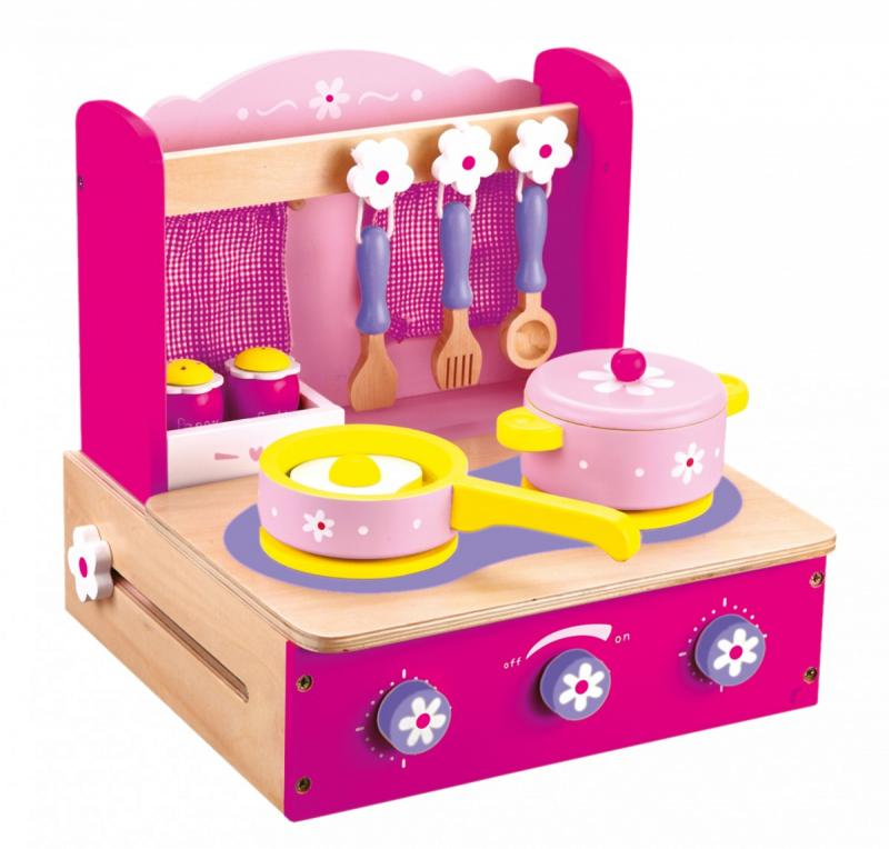 Bino Dětský vařič s příslušenstvím růžový 10 dílů