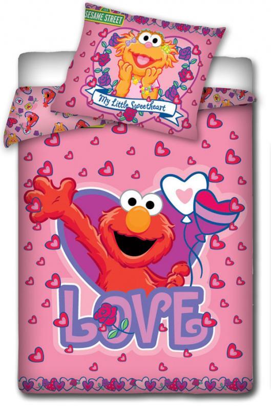 Carbotex povlečení do postýlky Sesame Street růžová 135x100 cm