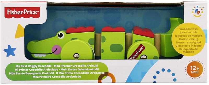 Fisher-Price Krokodýl na kolečkách dřevěný