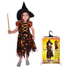 Karnevalový kostým čarodějnice/halloween s kloboukem 247901, vel. S