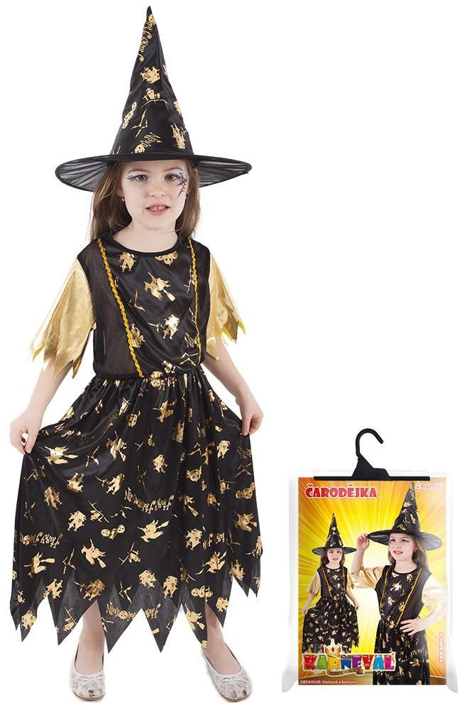 8e36cabba Halloweenský kostým pro malé čarodějnice s kloboukem. Šaty jsou se  dekorovány zlatými halloweenskými motivy.