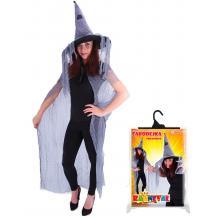 Karnevalový kostým plášť čarodějnický s kloboukem pro dospělé/Halloween
