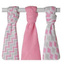 KIKKO Bambusové pleny XKKO BMB Scandinavian Baby Pink MIX 70x70cm - 3ks