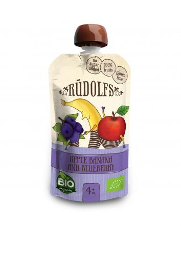 RUDOLFS Bio Pyré jablko + banán + borůvky kapsička 110 g