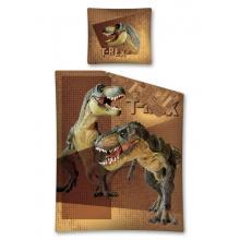 Detexpol Bavlněné povlečení Tyranosaurus Rex hnědá 140x200 cm