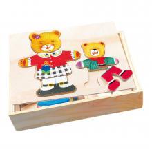 Bino Puzzle - šatní skříň - medvědice+medvídek