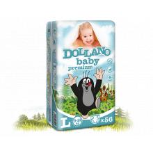 DOLLANO Baby premium L (9-14 kg) 56 ks - jednorázové plenky
