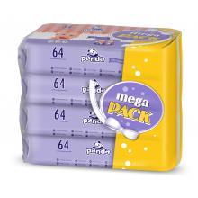 Panda Vlhčené ubrousky hedvábí a bavlna Mega Pack 4 x 64 ks