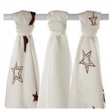 KIKKO Bambusové pleny XKKO BMB Natural Brown Stars MIX 70x70cm - 3ks