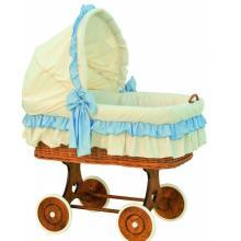 Scarlett Proutěný koš na miminko s boudičkou Martin - modrá