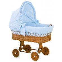 Scarlett Proutěný koš na miminko s boudičkou Méďa modrý