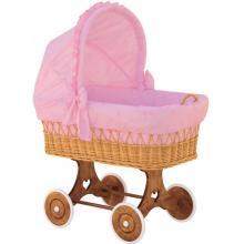 Scarlett Proutěný koš na miminko s boudičkou Méďa růžový