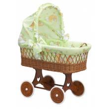 Scarlett Proutěný koš na miminko s boudičkou Mráček zelená