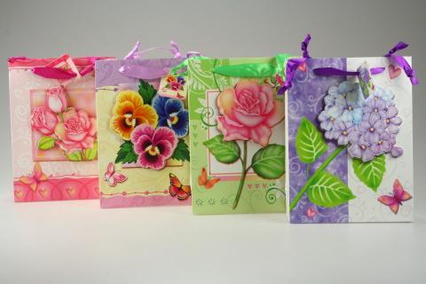 Dárková taška květy malá lesk
