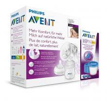 Philips Avent Odsávačka mateřského mléka NATURAL se zásobníkem 125 ml + Avent VIA pohárky s víčky 180 ml 5 ks