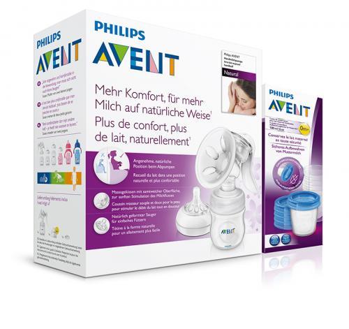 Avent Odsávačka mateřského mléka NATURAL se zásobníkem 125 ml + Avent VIA pohárky s víčky 180 ml 5 ks