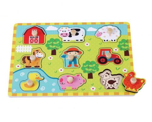 Sunbaby dřevěné puzzle Farma 2, E01.051.1.1