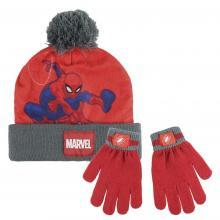 Cerdá Sada čepice s bambulí + rukavice - Spiderman