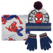 Cerdá Sada čepice s bambulí, rukavice, nákrčník - Spiderman