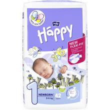 Bella Happy Newborn (2-5 kg) 42 ks - jednorázové pleny + DÁREK Vlhčené ubrousky