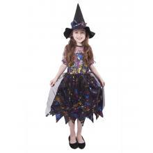 Karnevalový kostým čarodějnice barevná/Halloween, vel. M